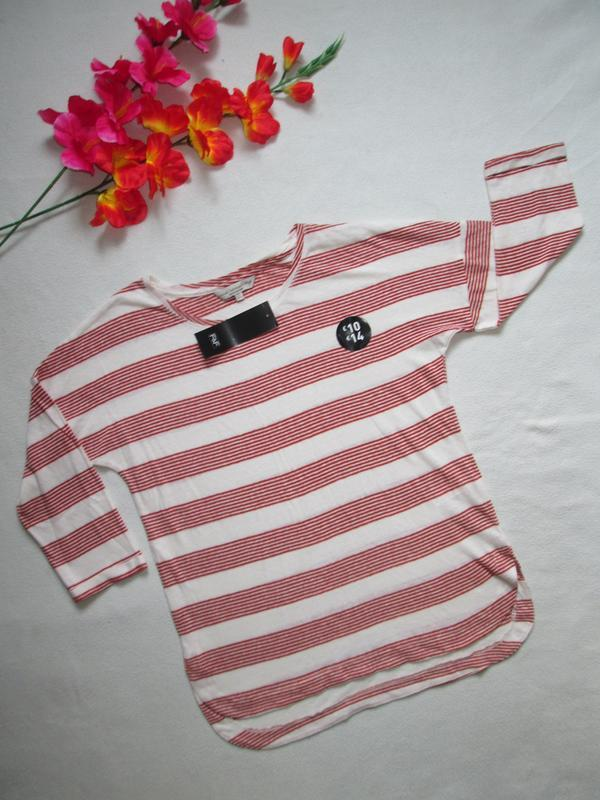 Трикотажная футболка реглан в полоску рукав 3\4  лён f&f - Фото 2
