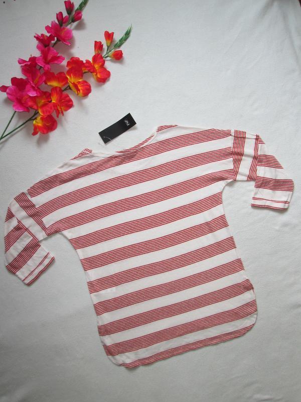 Трикотажная футболка реглан в полоску рукав 3\4  лён f&f - Фото 3