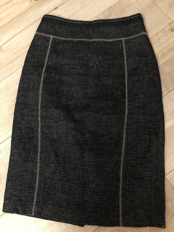 Клетка прямая юбка карандаш до колена от mango лен в составе р...