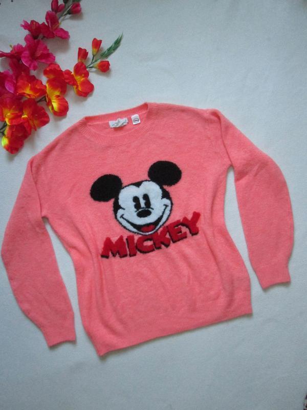 Суперовый тёплый свитер c шерстью  микки маус disney h&m.
