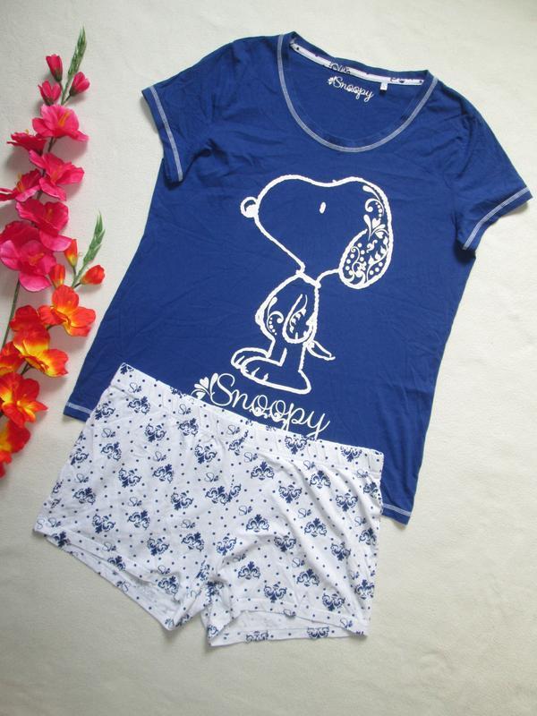 Пижама домашний костюм футболка + шорты снупи snoopy 100% котт... - Фото 2