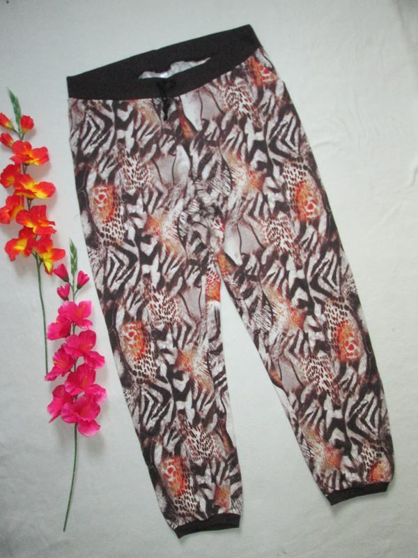 Трикотажные стрейчевые  брюки принт абстракция 100% коттон выс...