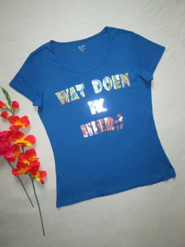 Суперовая стрейчевая футболка с голограммной надписью 100% кот...