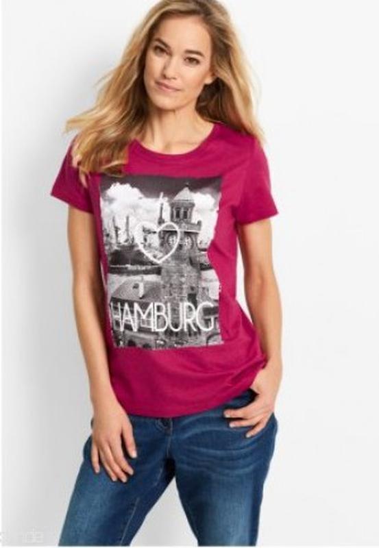 Классная стрейчевая футболка с аппликацией и надписью bonprix