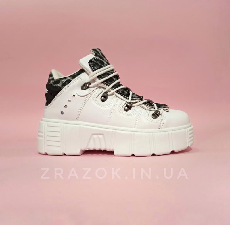 Ботинки полусапожки нью рок new rock белые высокие женские на ...