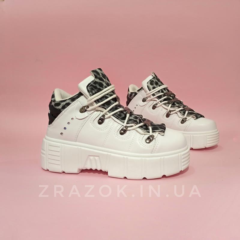 Ботинки полусапожки нью рок new rock белые высокие женские на ... - Фото 3