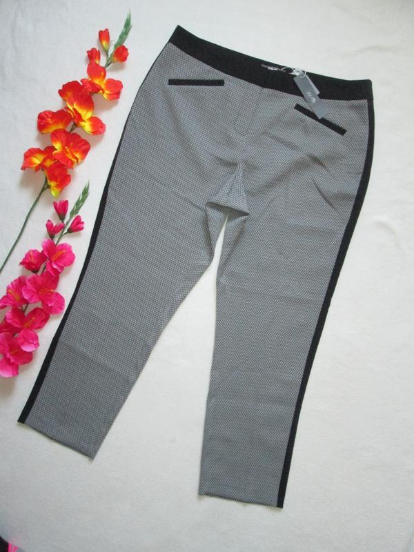 Роскошные укороченные брюки принт мелкий зиг-заг с лампасами s...