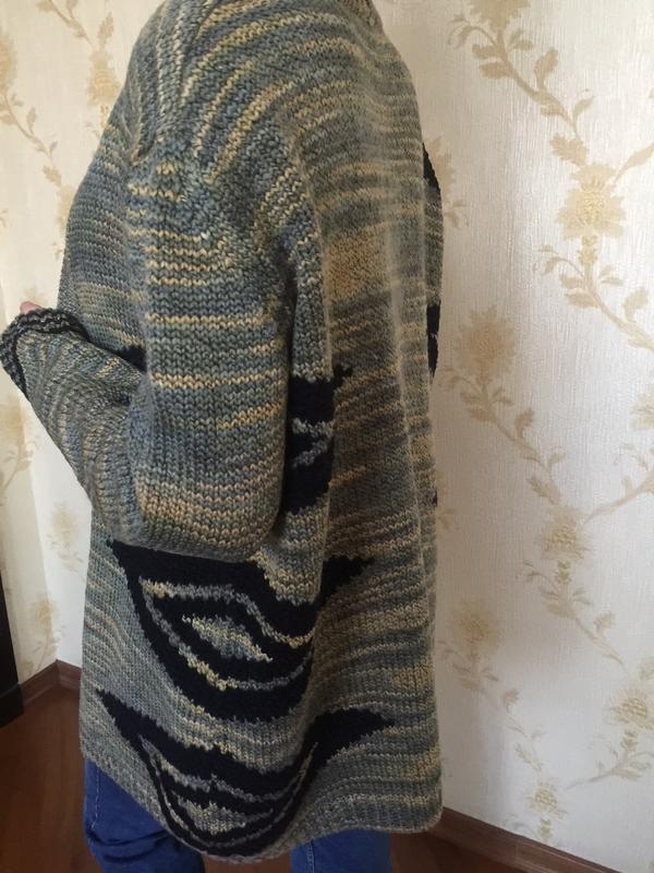 Теплый стильный кардиган в составе шерсть - Фото 2