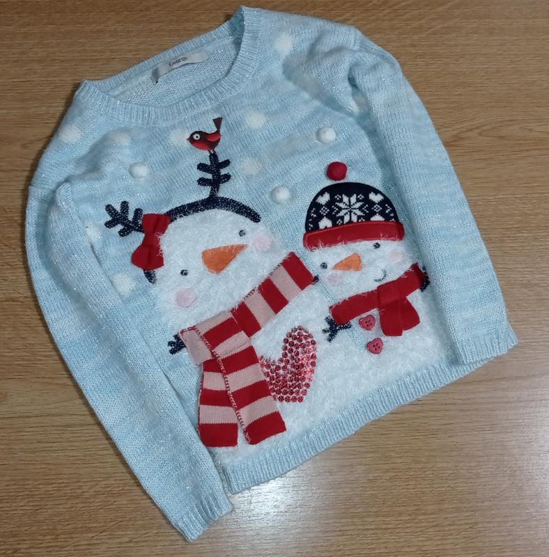 Свитер новогодний, теплый свитер для девочки