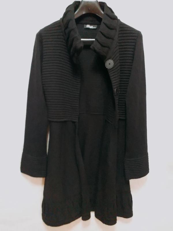 Leruggi итальянский вязаный длинный кардиган чёрного цвета, s - Фото 2