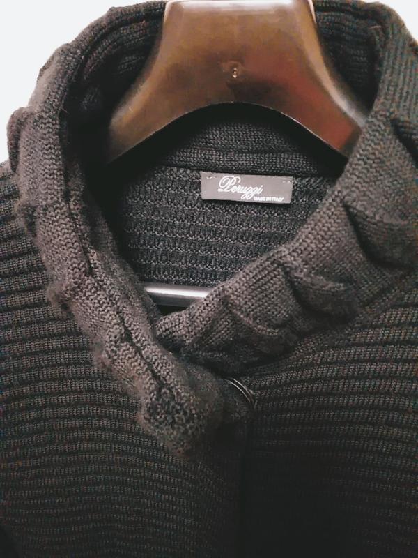 Leruggi итальянский вязаный длинный кардиган чёрного цвета, s - Фото 4
