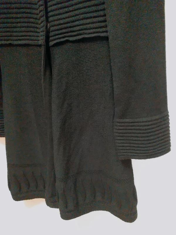 Leruggi итальянский вязаный длинный кардиган чёрного цвета, s - Фото 5