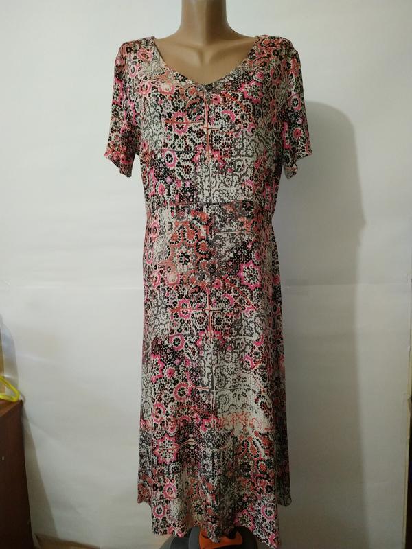 Платье миди натуральное жатка в орнамент uk 16/44/xl