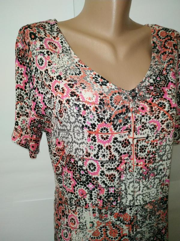 Платье миди натуральное жатка в орнамент uk 16/44/xl - Фото 2