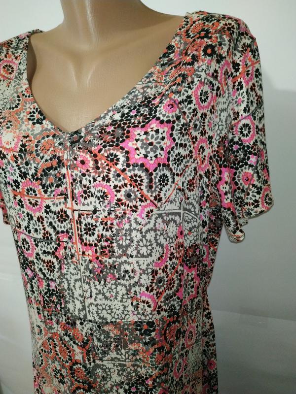 Платье миди натуральное жатка в орнамент uk 16/44/xl - Фото 5