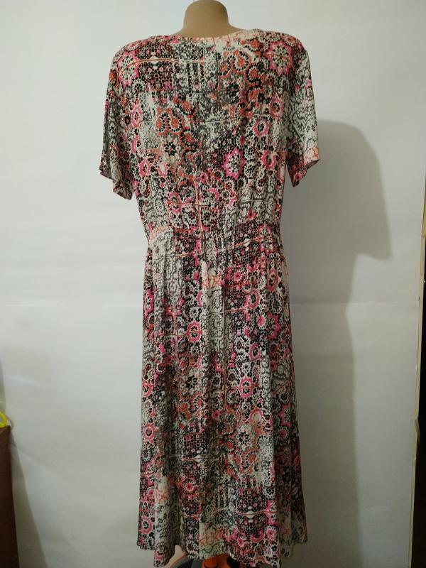Платье миди натуральное жатка в орнамент uk 16/44/xl - Фото 6