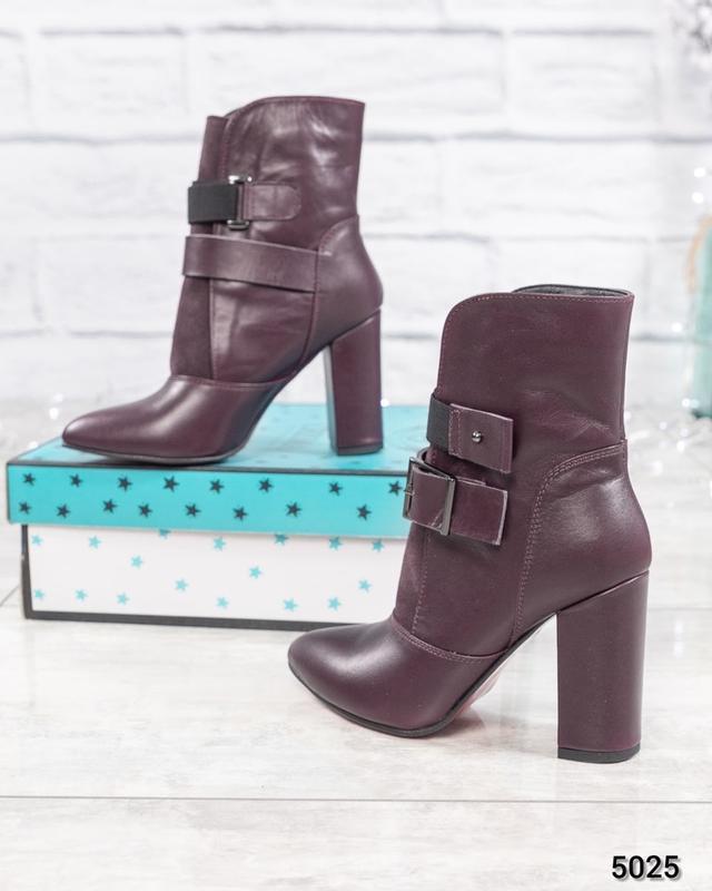 ❤ женские бордовые весенние деми кожаные ботинки полусапожки б...