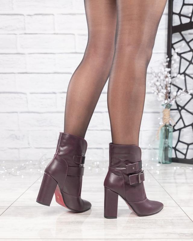 ❤ женские бордовые весенние деми кожаные ботинки полусапожки б... - Фото 2