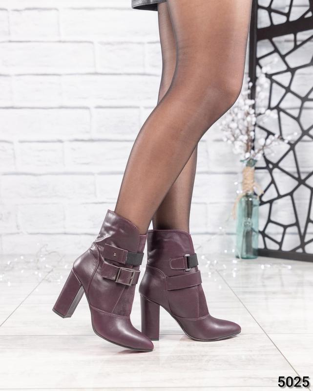 ❤ женские бордовые весенние деми кожаные ботинки полусапожки б... - Фото 3