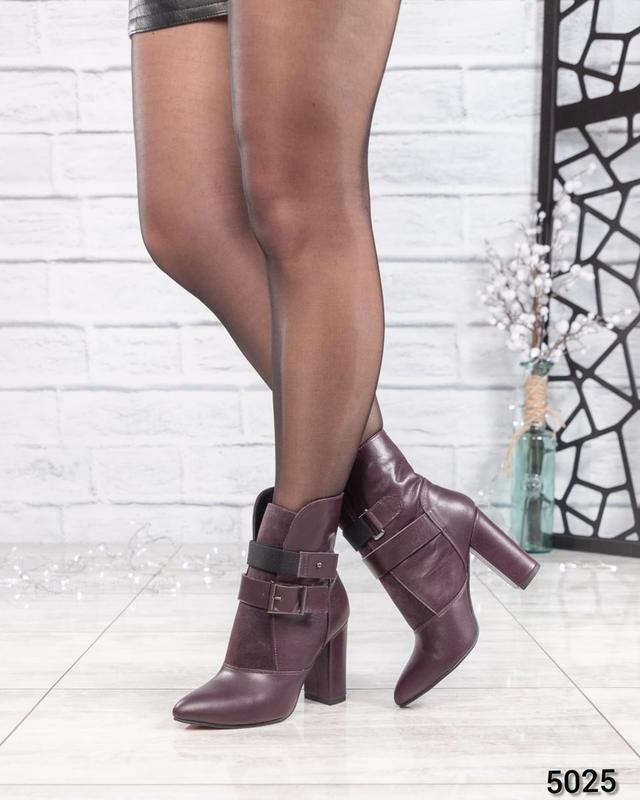 ❤ женские бордовые весенние деми кожаные ботинки полусапожки б... - Фото 4