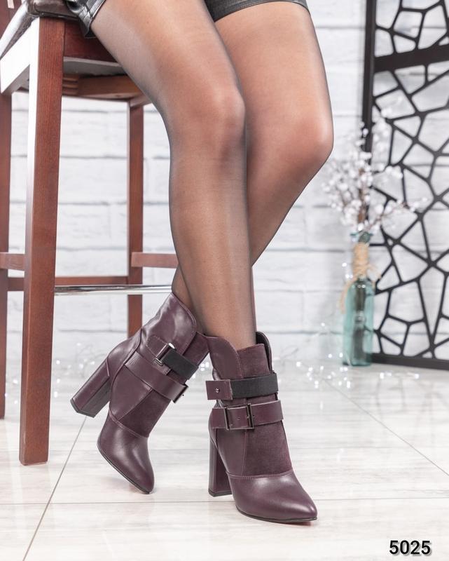 ❤ женские бордовые весенние деми кожаные ботинки полусапожки б... - Фото 5