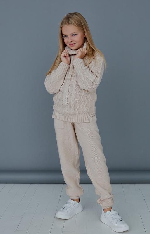 Костюм двойка детский, для девочки, вязанный, теплый, зимний, ...