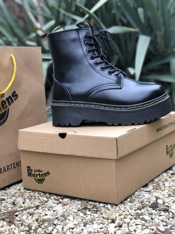 Шикарные ботинки dr. martens jadone black с мехом