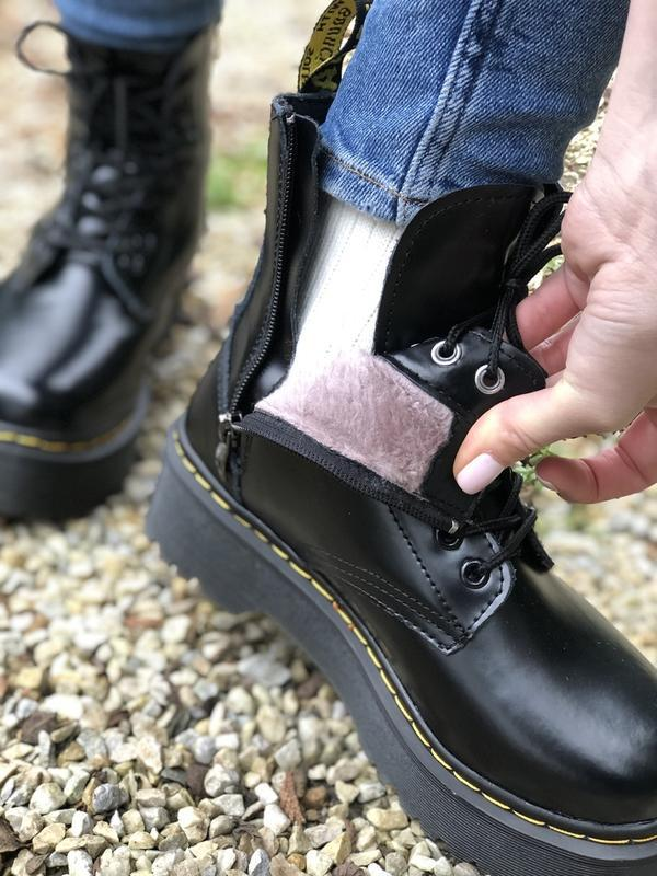 Шикарные ботинки dr. martens jadone black с мехом - Фото 4