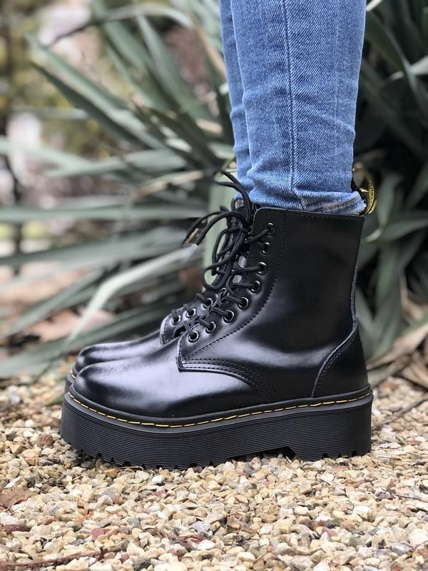 Шикарные ботинки dr. martens jadone black с мехом - Фото 5