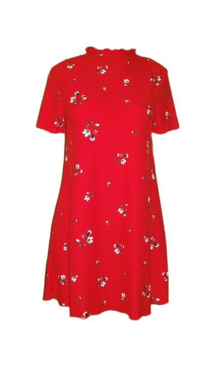 Летнее платье свободного кроя трапеция цветочный принт повседн...