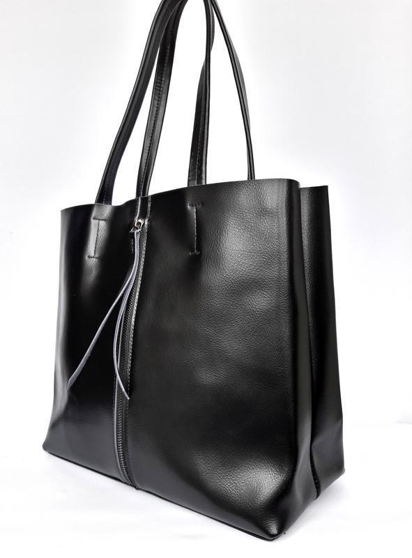 """Женская кожаная сумка """"tout"""" черная - Фото 2"""