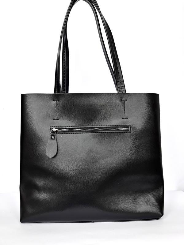 """Женская кожаная сумка """"tout"""" черная - Фото 3"""