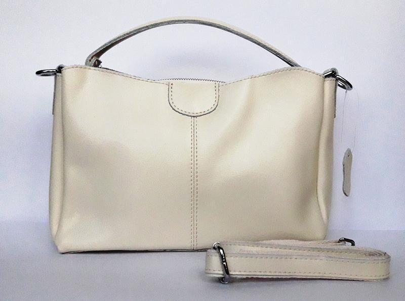 """Женская кожаная сумка """"happy bag"""" бежевая - Фото 2"""