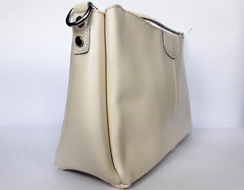 """Женская кожаная сумка """"happy bag"""" бежевая - Фото 3"""