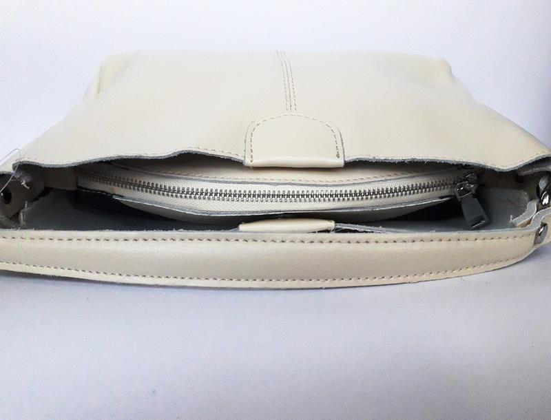 """Женская кожаная сумка """"happy bag"""" бежевая - Фото 4"""