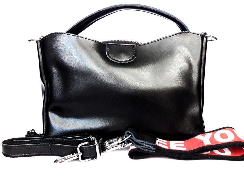 """Женская кожаная сумка """"happy bag"""" черная - Фото 2"""