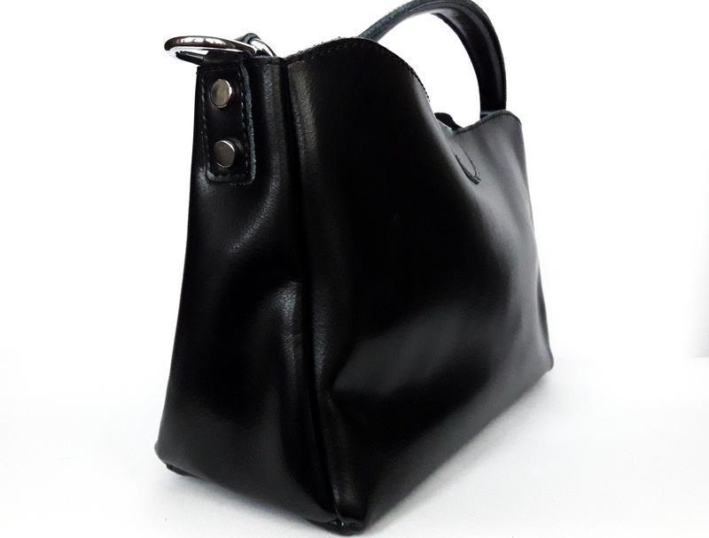 """Женская кожаная сумка """"happy bag"""" черная - Фото 3"""