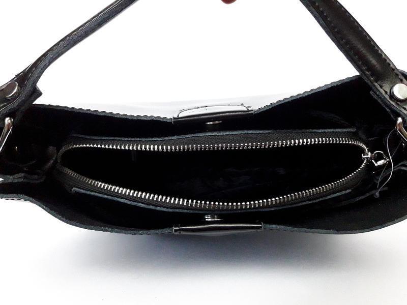 """Женская кожаная сумка """"happy bag"""" черная - Фото 4"""
