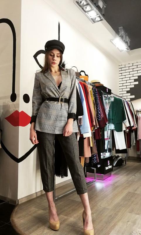 Шикарный трендовый удлиненный жакет пиджак классический серый ... - Фото 2