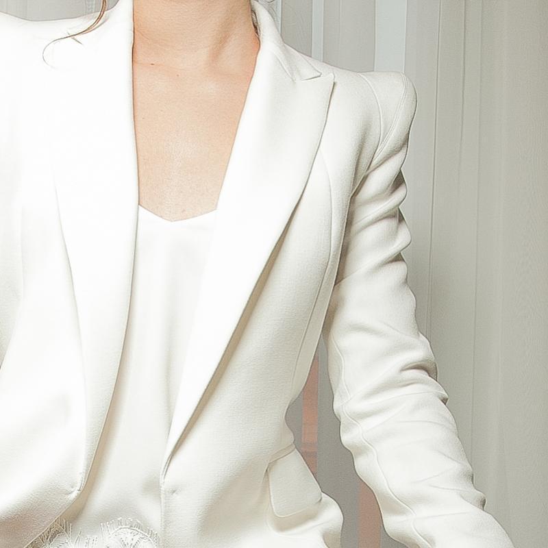 Скидка! эксклюзивный базовый белый жакет пиджак с плечиками пр... - Фото 2