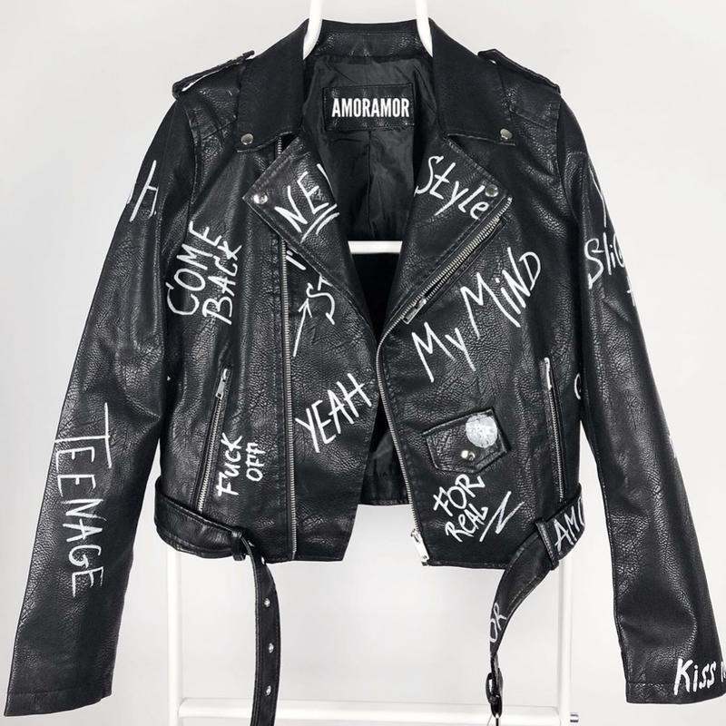 Кожаная трендовая куртка косуха с граффити ручная работа кожа - Фото 6