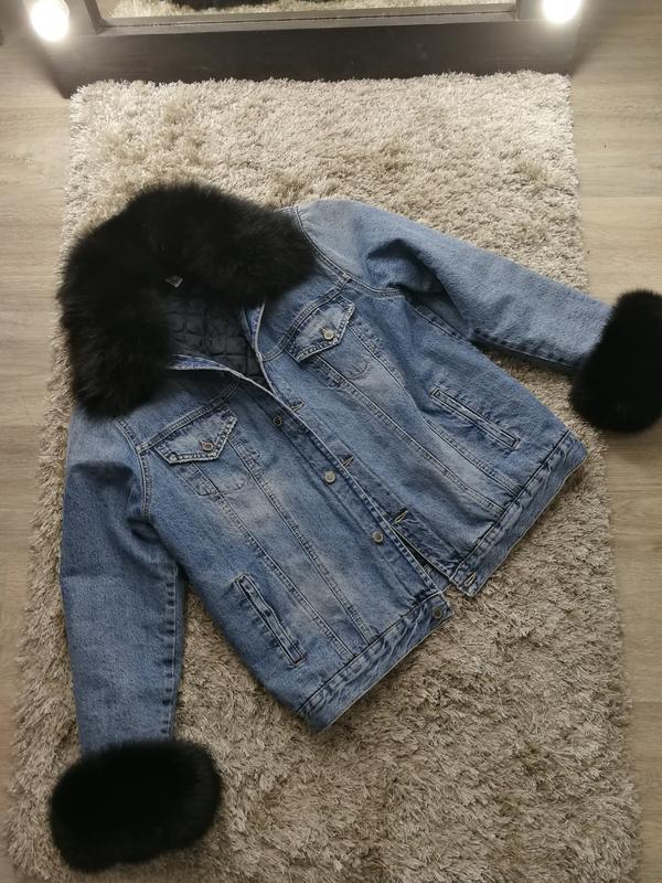 Шикарная брендовая куртка парка джинсовка с мехом песец оверск... - Фото 6