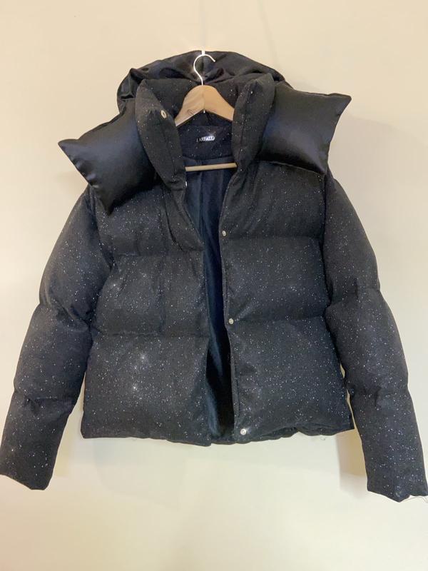 Блестящий короткий пуховик оверсайз куртка дутый с капюшоном л... - Фото 5