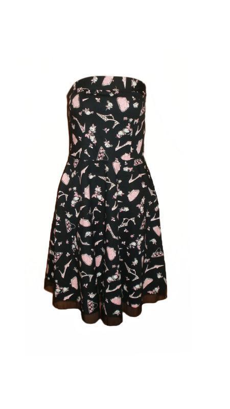 Оригинальное платье принт туфли сумочки etam расклешенное плат...