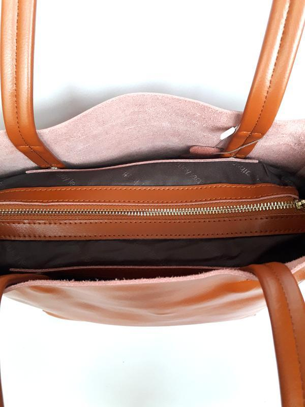 """Женская кожаная сумка """"long"""" рыжая - Фото 2"""