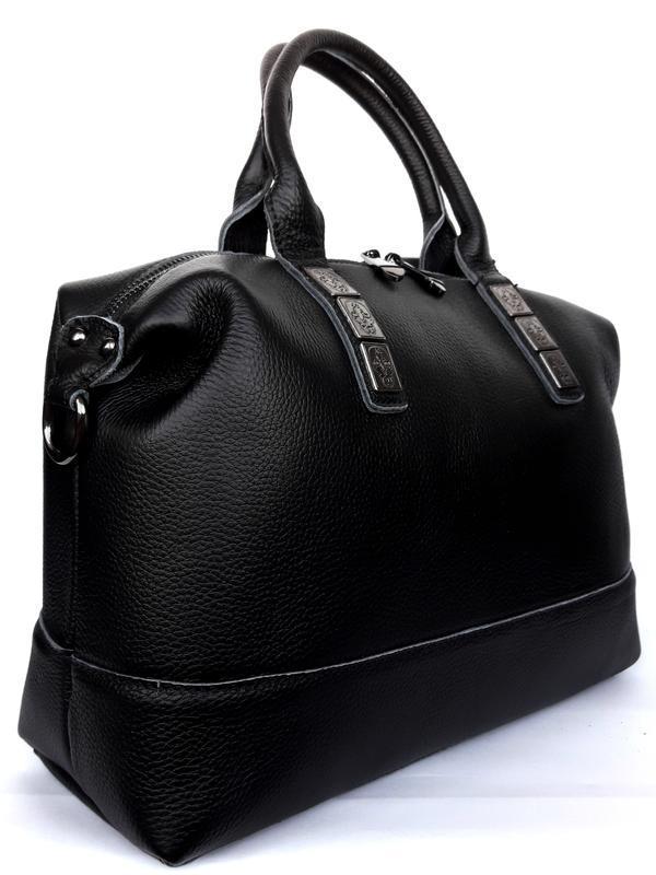"""Женская кожаная сумка-саквояж """"casablanca"""" черная - Фото 3"""
