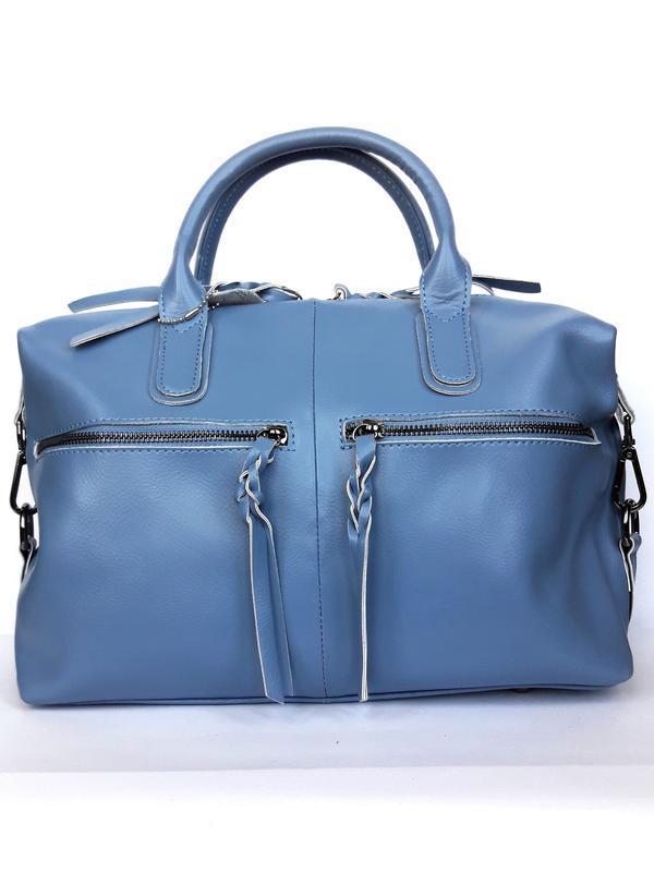 """Женская кожаная сумка-саквояж """"cassiopeia"""" синяя"""