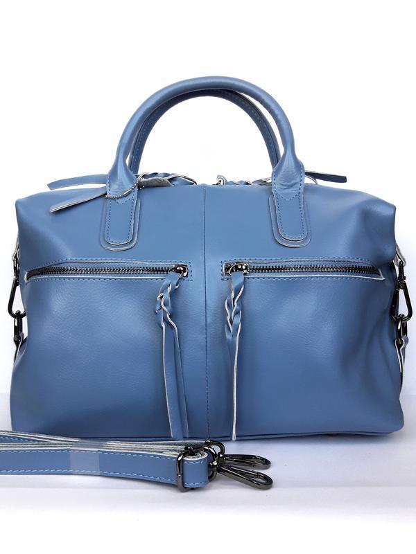 """Женская кожаная сумка-саквояж """"cassiopeia"""" синяя - Фото 2"""