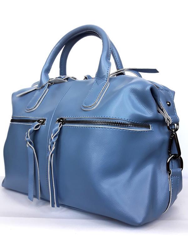 """Женская кожаная сумка-саквояж """"cassiopeia"""" синяя - Фото 3"""