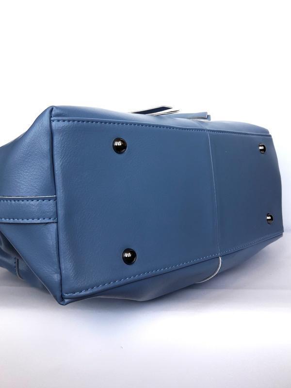 """Женская кожаная сумка-саквояж """"cassiopeia"""" синяя - Фото 5"""